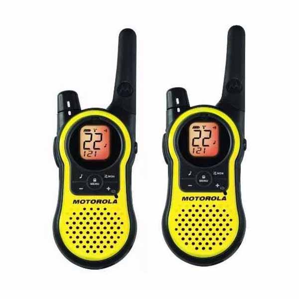 Handy Motorola Walkie Talkie Mh230R X Dos (37Km, 22 Canales) C/ Base Cargador