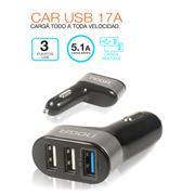 Cargador Auto A 3 Usb Noganet 5.1 Amp (Pn: Car Usb 17A)
