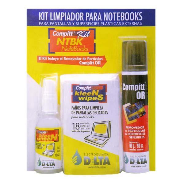 Kit Limpiador PLcdPlasmaNotebook Liquido  Paños  Aire Comprimido Edelta Nt