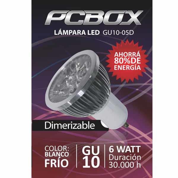 Lampara Led Pc Box Mr16 Gu10 6W Blanco Frio 60º 5500K Mr123
