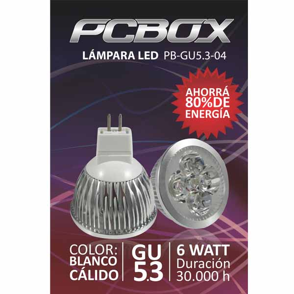 Lampara Led Pc Box Mr16 Gu5.3 4W Blanco Calido 60º 3000K Mr114
