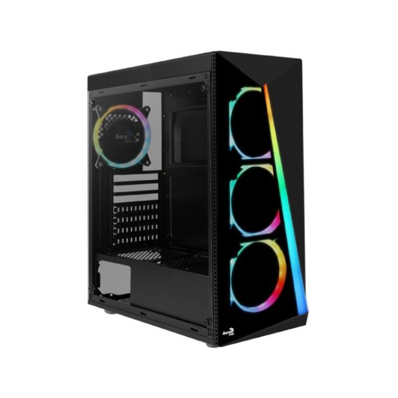 Gabinete Aerocool Shard Black Tempered Glass + 4 fans RGB (Mid Tower)