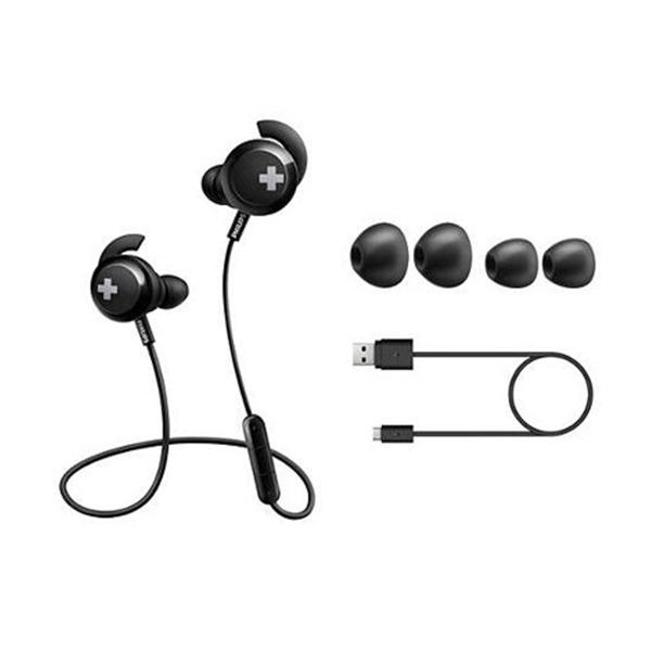 Auricular Philips Shb4305Bk/00 in Ear Bass+ inalámbricos con Bt  , Microfono Incorporado, Negro